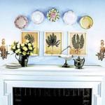 Декоративные тарелки над камином